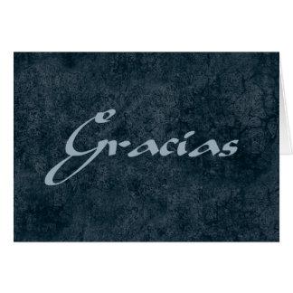 Los españoles le agradecen Gracias en tarjeta azul