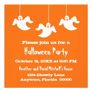 Los fantasmas colgantes Halloween invitan, naranja Comunicado Personalizado