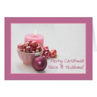 Los felices christsmas de la sobrina y del marido tarjeta de felicitación