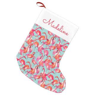 Los flamencos de la acuarela recolectaron el | calcetín navideño pequeño