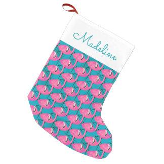 Los flamencos de neón el | añaden su nombre calcetín navideño pequeño