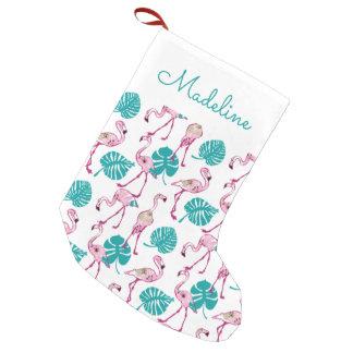 Los flamencos rosados el | añaden su nombre calcetín navideño pequeño