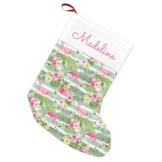 Los flamencos y las rayas el | añaden su nombre calcetín navideño pequeño