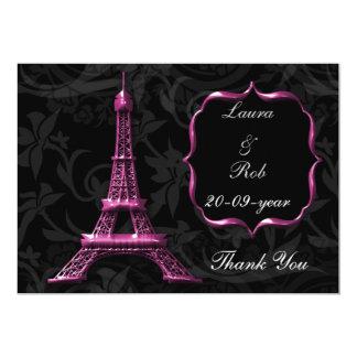 los franceses rosados de la torre Eiffel le Invitación 12,7 X 17,8 Cm