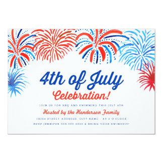 Los fuegos artificiales el 4 de julio invitan invitación 12,7 x 17,8 cm