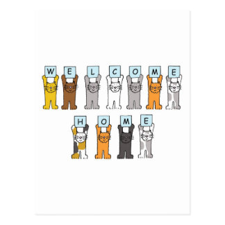 Los gatos dan la bienvenida a la tarjeta casera postal