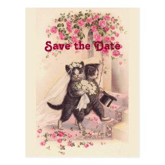 Postal Los gatos del boda del vintage ahorran la postal