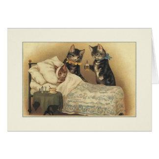 Los gatos del vintage consiguen la tarjeta de nota