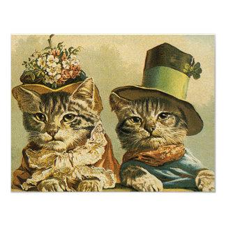 Los gatos divertidos del Victorian del vintage en Invitación 10,8 X 13,9 Cm