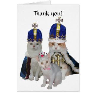 Los gatos divertidos le agradecen cardar tarjeta de felicitación