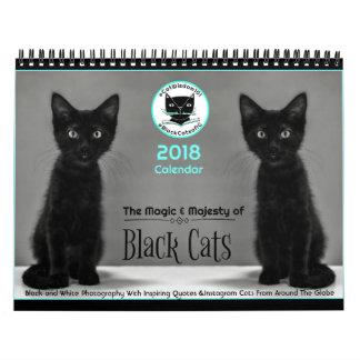 Los gatos negros dicen el calendario 2018