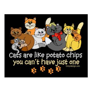 Los gatos son como las patatas fritas postal