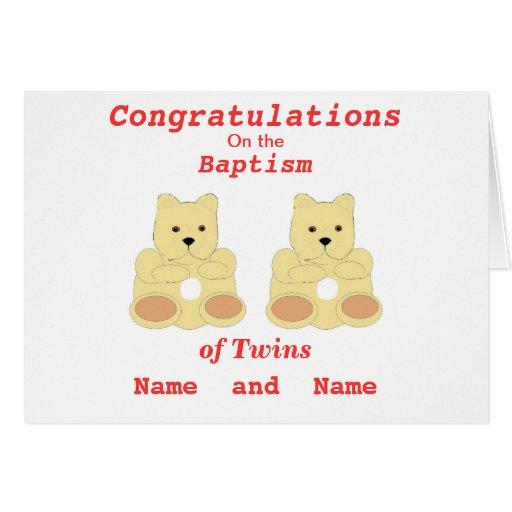 Los gemelos del bautismo de la enhorabuena añaden tarjetas