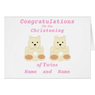 Los gemelos del bautizo de la enhorabuena añaden e tarjeta