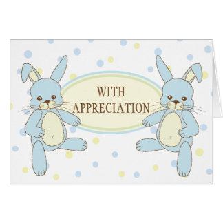 Los gemelos del conejo de conejito le agradecen tarjeta pequeña
