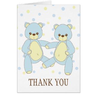 Los gemelos del oso de peluche le agradecen tarjeta pequeña