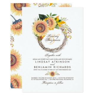 Los girasoles enrruellan el boda rústico de la invitación 12,7 x 17,8 cm