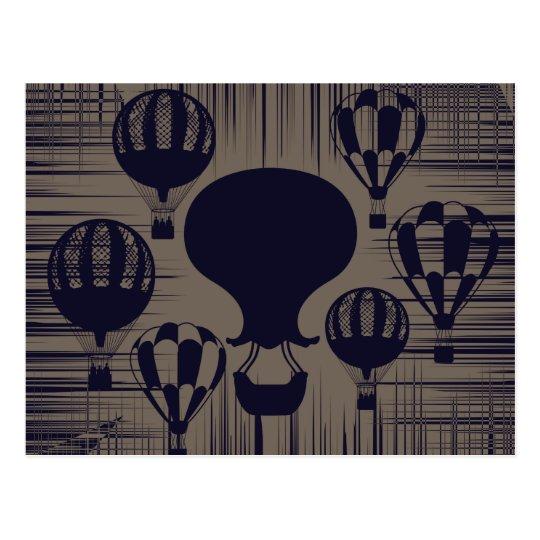 Los globos del aire caliente del vintage apenaron postal
