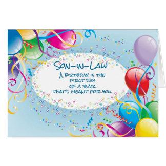 Los globos religiosos del cumpleaños del yerno tarjeta de felicitación