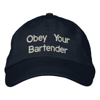 Los gorras del camarero - obedezca a su camarero gorras bordadas