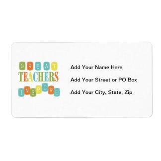 Los grandes profesores inspiran etiquetas de envío