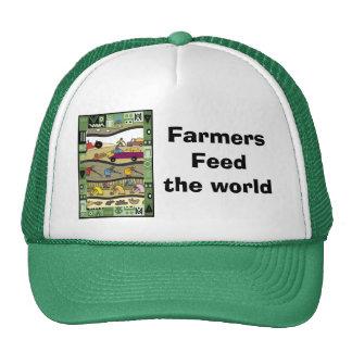 Los granjeros alimentan el mundo gorros bordados