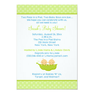 Los guisantes en una fiesta de bienvenida al bebé invitación 12,7 x 17,8 cm