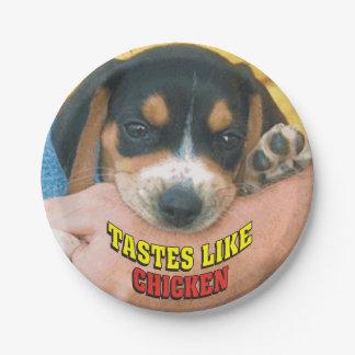 Los gustos tienen gusto del perrito del beagle del plato de papel