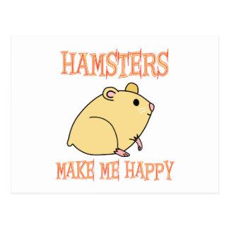 Los hámsteres me hacen feliz postal