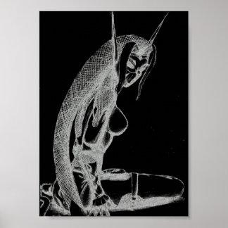 Los hastiados impresión de la lona del duende (B&W