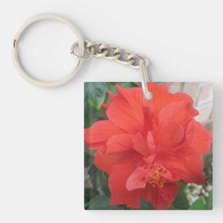 Los hibiscos plantan floral rojo llavero