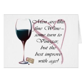 Los hombres son como el vino fino, tarjeta de