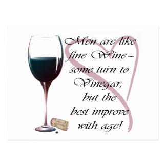 Los hombres son como el vino fino, tarjeta de postal