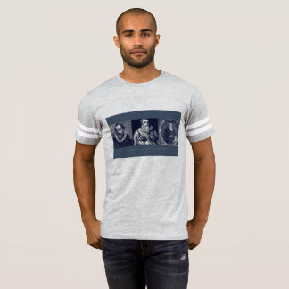 Los hombros de los hombres de la camiseta de
