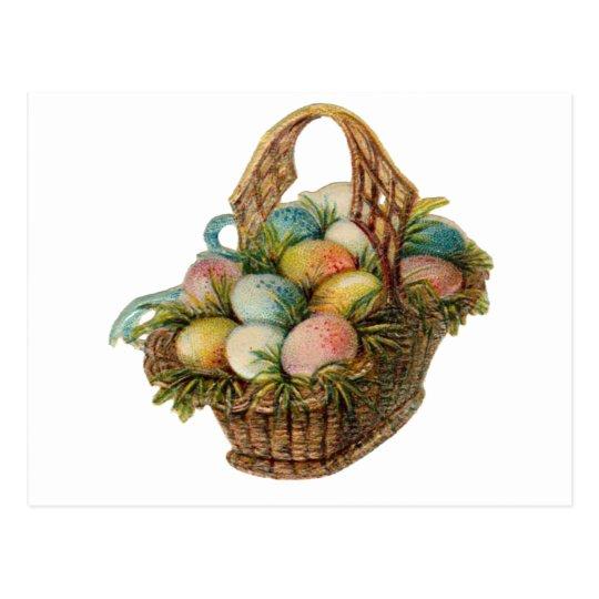 Los huevos de Pascua coloridos llenan una cesta de Postal