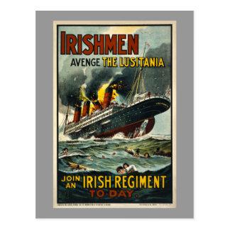 ¡Los irlandeses del Lusitania del vintage se venga Tarjeta Postal