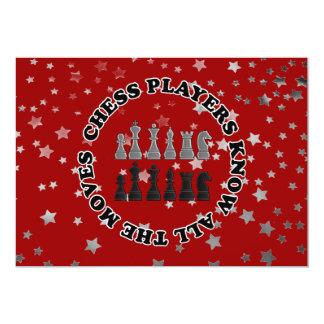 Los jugadores de ajedrez divertidos saben todos invitación 12,7 x 17,8 cm
