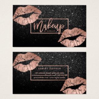 Los labios de la tipografía del maquillaje subió tarjeta de negocios