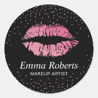Los labios de las rosas fuertes subió al artista pegatina redonda