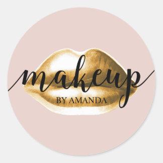 Los labios del oro del artista de maquillaje se pegatina redonda
