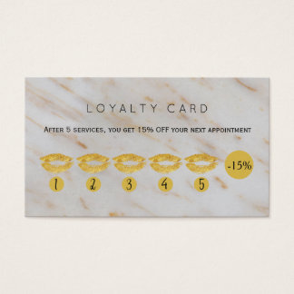 Los labios del purpurina del oro vetean lealtad tarjeta de visita