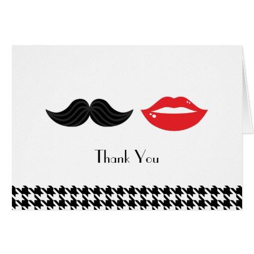 Los labios y el boda de Houndstooth del bigote le  Felicitaciones