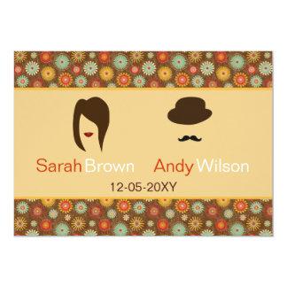 los labios y el boda floral retro del bigote le invitación 12,7 x 17,8 cm