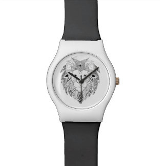 Los leones hacen frente en la línea blanco y negro reloj de pulsera