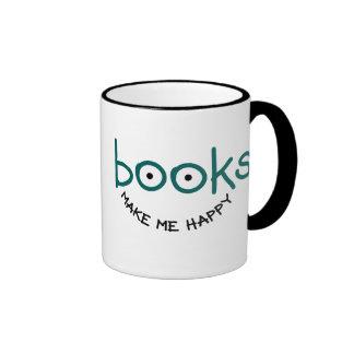 Los libros me hacen feliz taza de dos colores