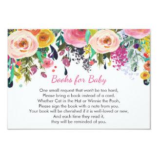 Los libros para el bebé, florales traen un parte invitación 8,9 x 12,7 cm