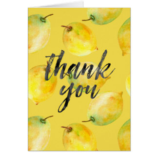 Los limones amarillos le agradecen tarjeta pequeña