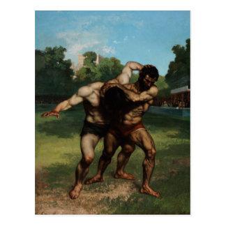 Los luchadores de Gustave Courbet 1862 Postal