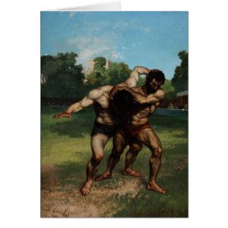Los luchadores de Gustave Courbet 1862 Tarjeta De Felicitación