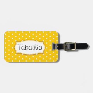 Los lunares amarillos brillantes de la flor etiquetas para maletas